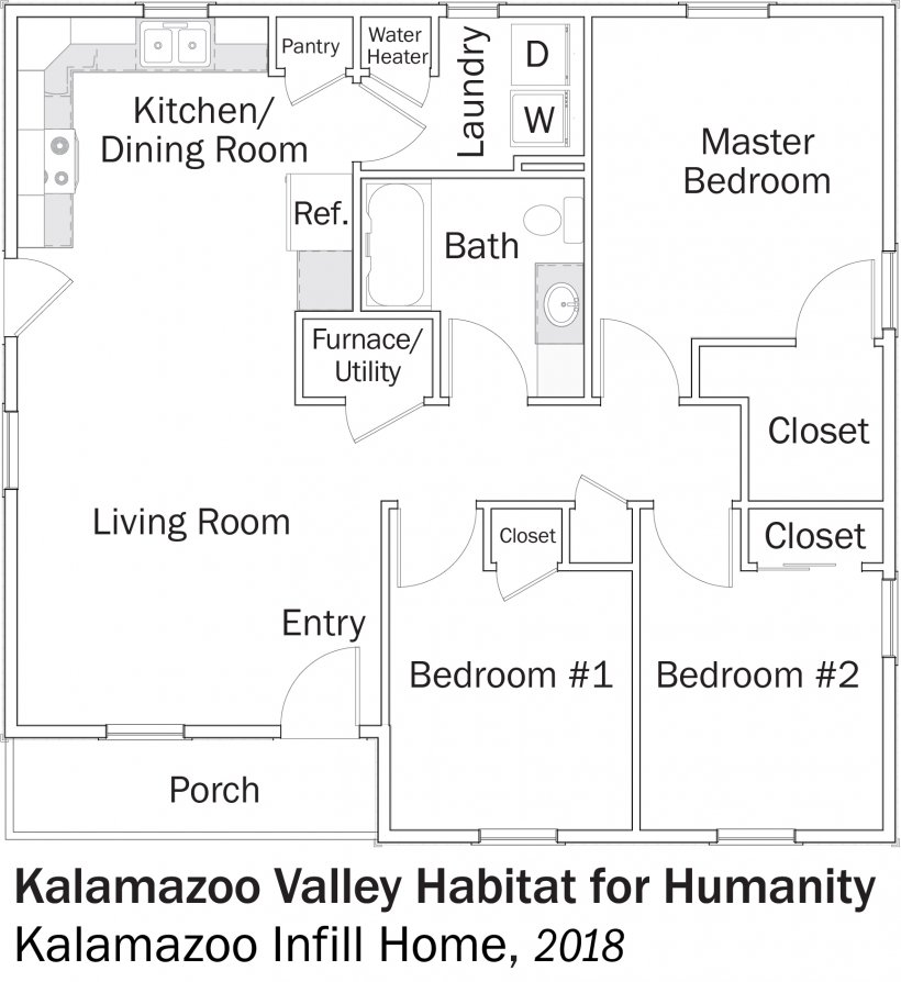 DOE Tour of Zero: Kalamazoo Infill Home by Kalamazoo Valley Habitat for Humanity floorplans.