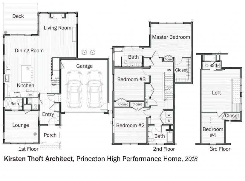 DOE Tour of Zero: Princeton High Performance Home by Kirsten Thoft Architect floorplans.