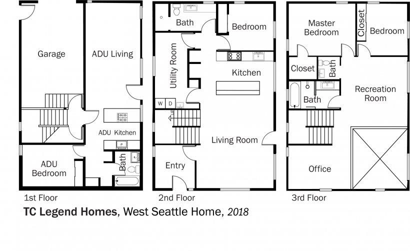 DOE Tour of Zero: West Seattle Home by TC Legend Homes floorplans.