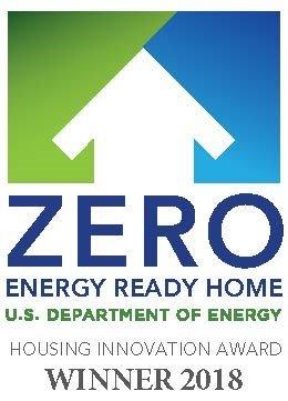 Zero Energy Ready Home logo, with 2018 Housing Innovation Award winner designation.