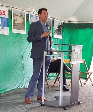 EM Senior Advisor Taylor Playforth speaks to employees and guests at last week's celebration at the West Valley Demonstration Project Site.