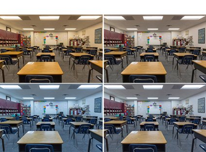 Four photos of a classroom with a tunable lighting system.