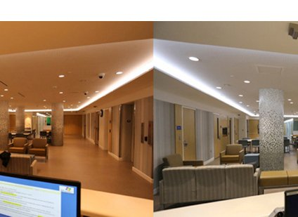 Two photos of a hallway in a senior-care center.