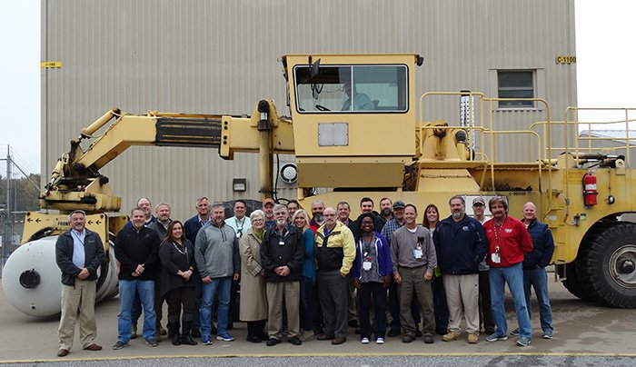DUF6 project directors and work crews at EM's Paducah Site commemorate all seven production lines in operation.