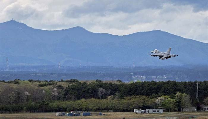 Plane flying over Misawa Air Base.