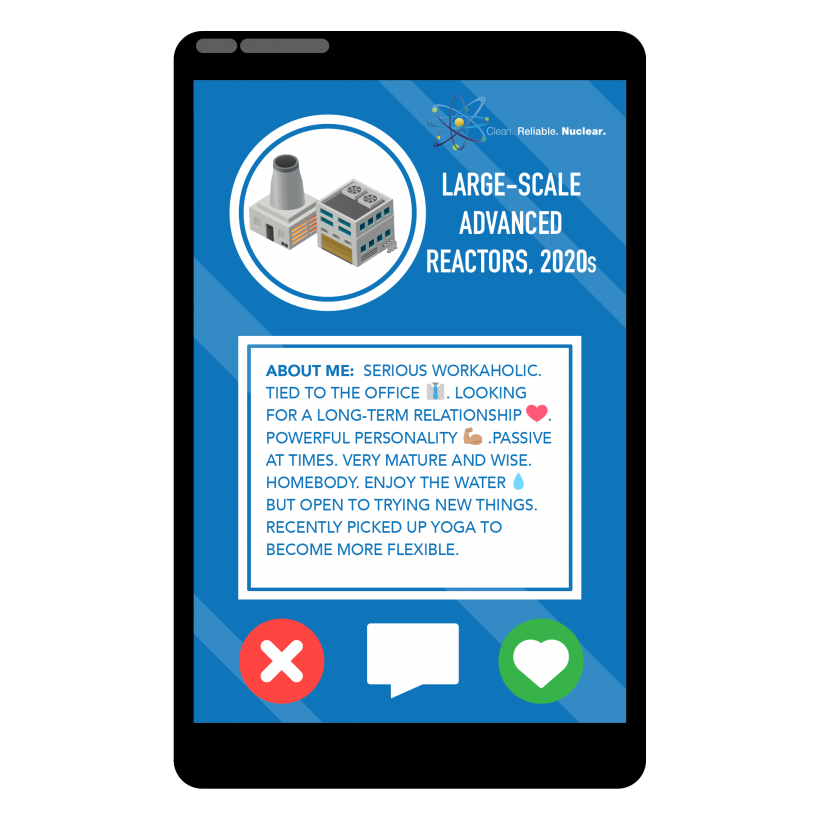 A photo of a large scale advanced reactor inside a phone with a profile that describes its attributes