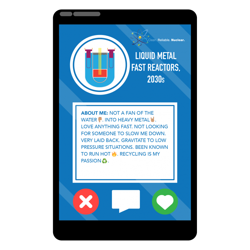 A photo of a liquid metal fast reactor inside a phone with a profile that describes its attributes