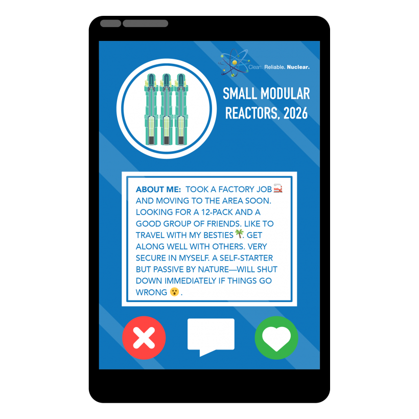 A photo of a small modular reactor inside a phone with a profile that describes its attributes.