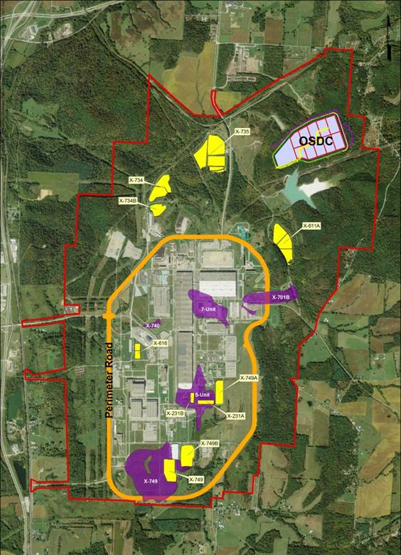 Site Selection for OSDC is indicated on the map along with existing landfills (yellow) and groundwater plumes (purple).