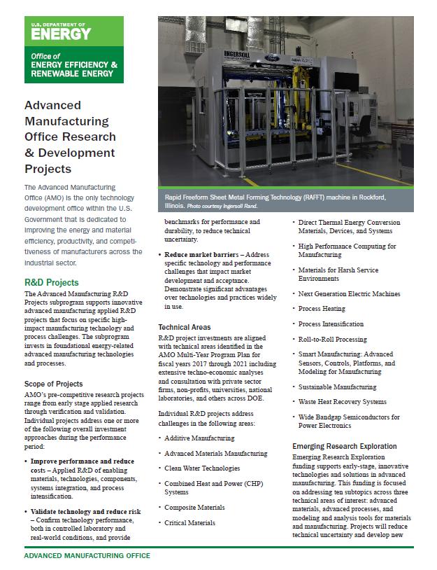 screenshot of the Research & Development Projects Fact Sheet