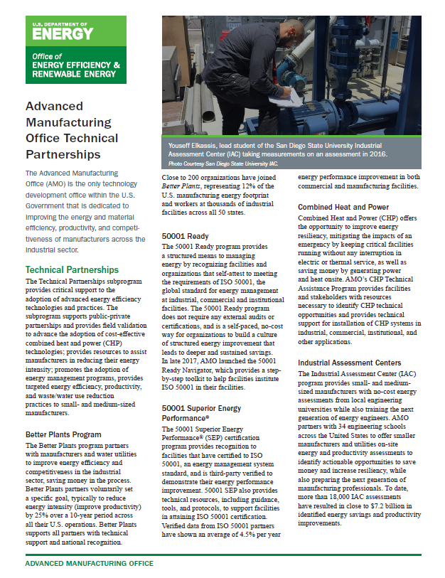 screenshot of the Technical Partnerships Fact Sheet