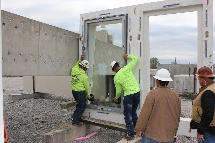 concrete panel at the precast plant