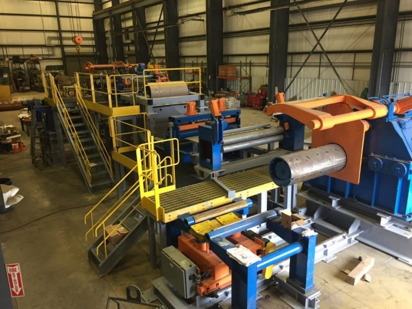 Pictured here is the pilot line for SFP Works to process 20,000 lb coils through the Flash Bainite® process.