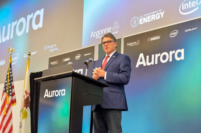 Secretary Rick Perry announced Aurora exascale supercomputer