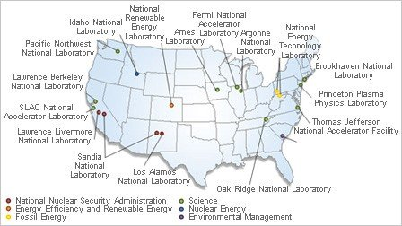 A map of the Department of Energy National Laboratories