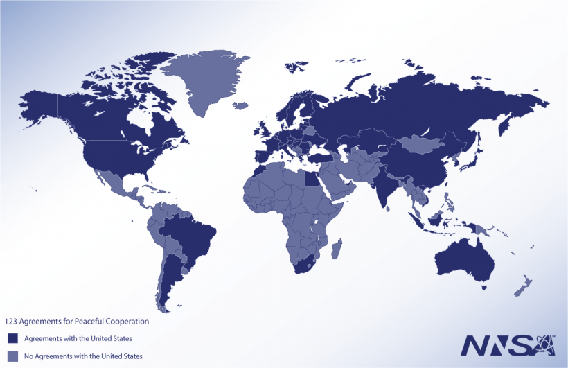 World map of U.S. 123 agreements with key