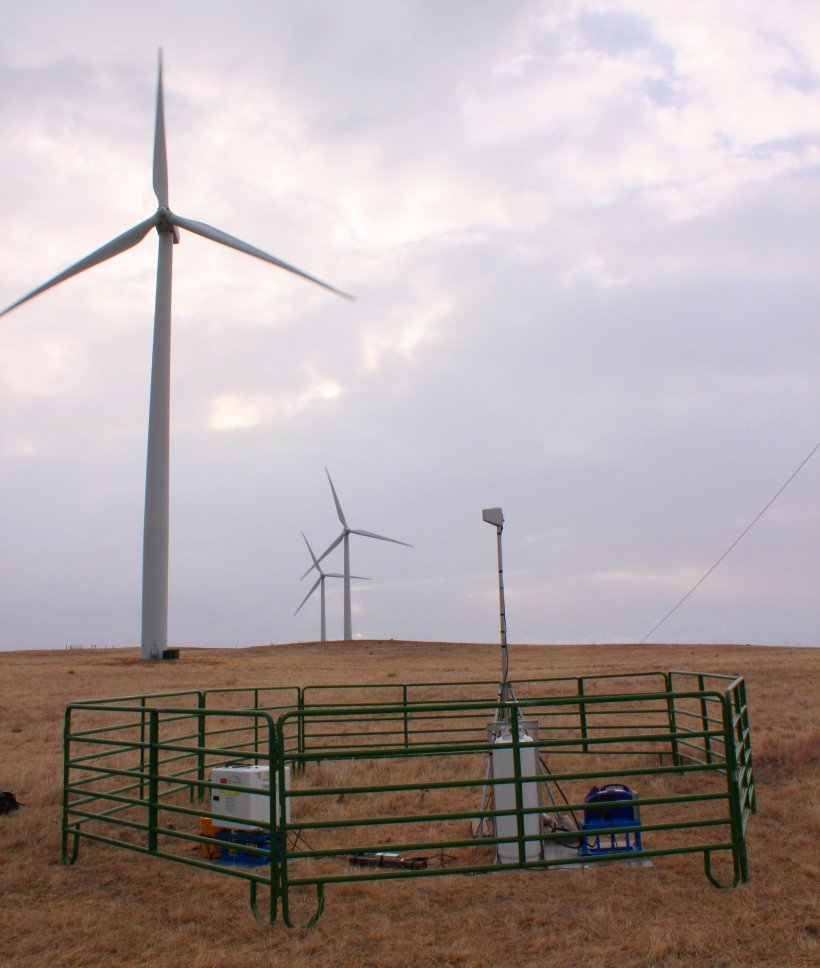 Lidar equipment in the foreground with three wind turbines in the background.