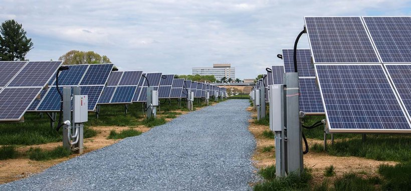 Photovoltaic panels in a row with a gravel path between them.