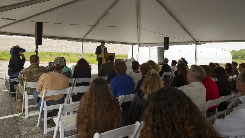 Community members gather for presentations at the groundbreaking for the new Weldon Spring Interpretive Center.