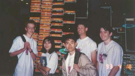 The Albany High School team as they arrive at the 1993 national competition: (L-R) Zach Teitler, Ilkay Can, Michael Wang, Ben Rudiak-Gould, and Matthew Siebert.