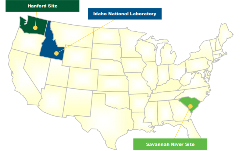Current Locations for DOE Defense Reprocessing Waste Inventories
