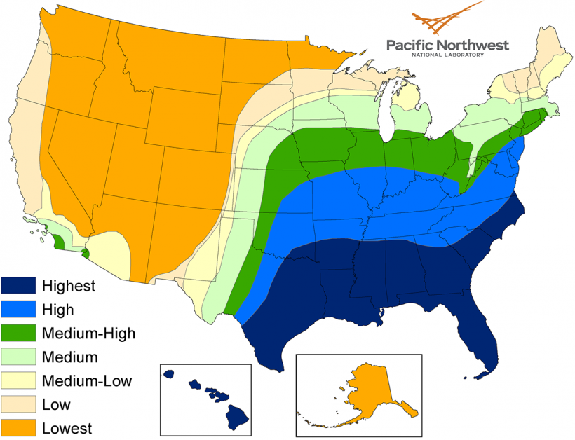 A map showing the potential condensate for different areas of the United States.