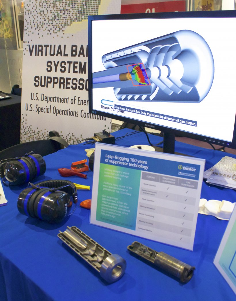 The Virtual Baffle System Suppressor exhibit at Military Invention Day at the National Museum of American History.