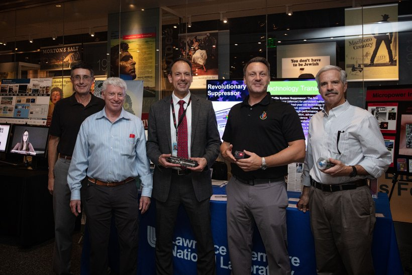 From left: Dr. Andy Anderson and Dr. Willy Moss of Lawrence Livermore National Laboratory, Dr. Arthur Daemmrich of the Smithsonian Institution, Lee Finewood of NNSA; and Dr. Steve Azevedo of Livermore Lab.