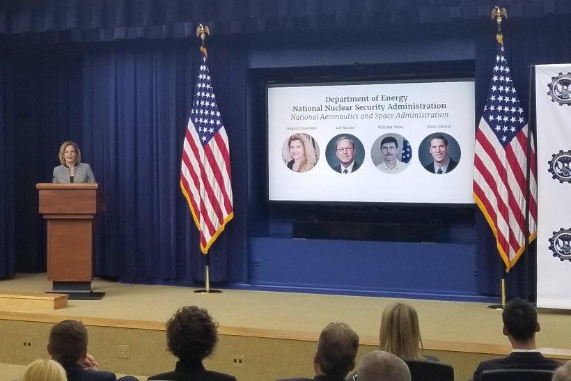 NNSA Administrator Lisa E. Gordon-Hagerty speaks at the ceremony honoring the Gears of Government President's Award winners.