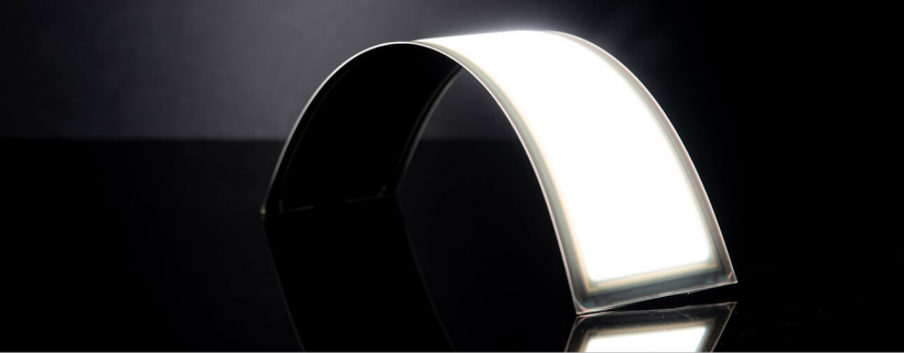 A thin, curved, high-efficiency OLED light engine from OLEDWorks.