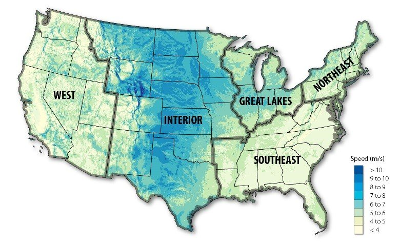 Map of the U.S. highlighting Trends in Utility-Scale Land-Based Wind Technology