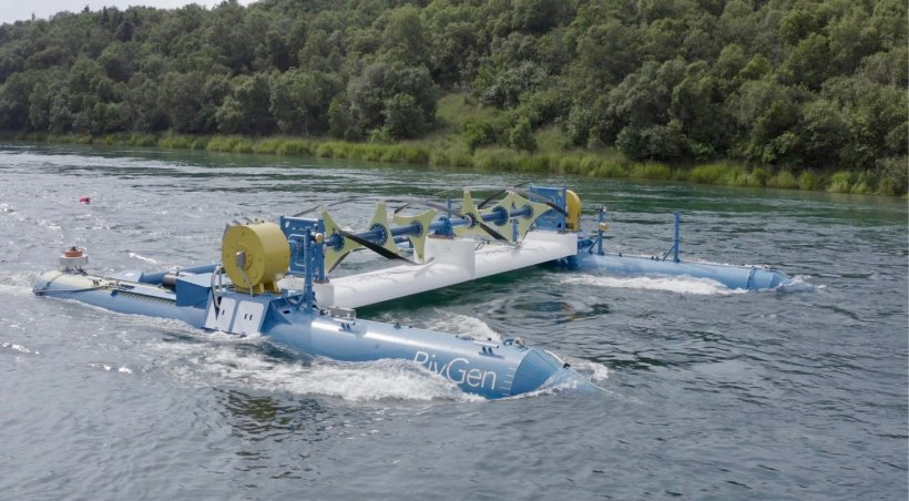The ORPC RivGen Power System prior to installation on the Kvichak River in Igiugig, Alaska. The device is 51.5 feet long, 46.9 feet wide, and 11.5 feet tall. Credit: ORPC