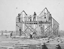House framing from 1877 in Nebraska.
