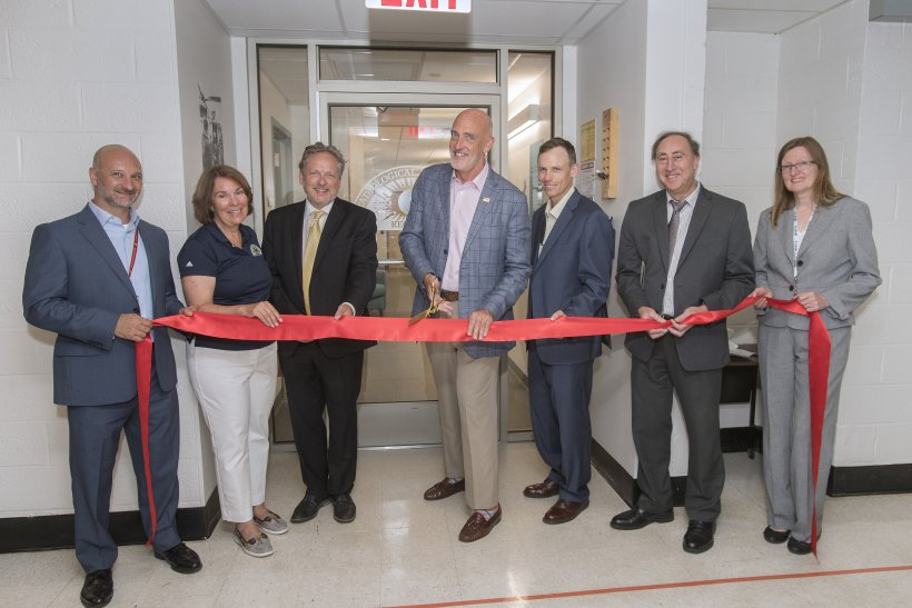 NNSA Associate Administrator and Deputy Under Secretary for Counterterrorism and Counterproliferation Jay Tilden cuts the ribbon for the renovated RAP 1 facility at Brookhaven National Laboratory in Brookhaven, New York.