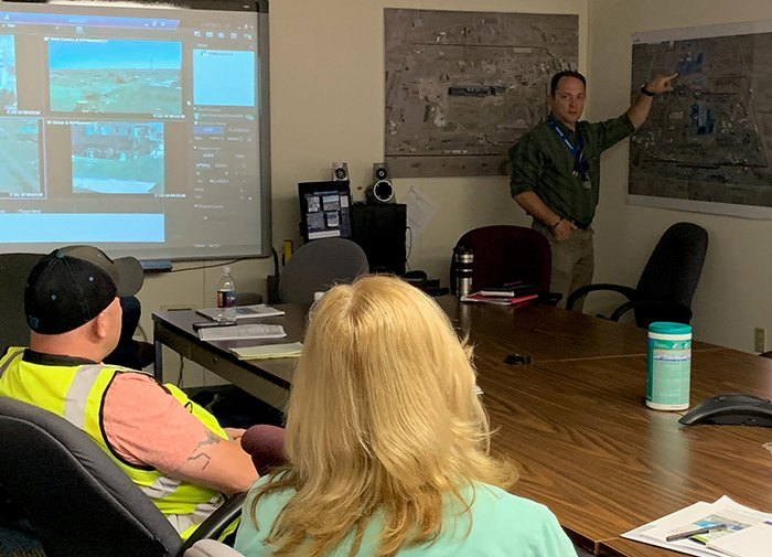 Employees from West Valley Demonstration Project (WVDP) receive a briefing from Jason Casper, vice president of Hanford's Plutonium Finishing Plant Closure Project and former vice president of WVDP contractor CH2M HILL BWXT West Valley.