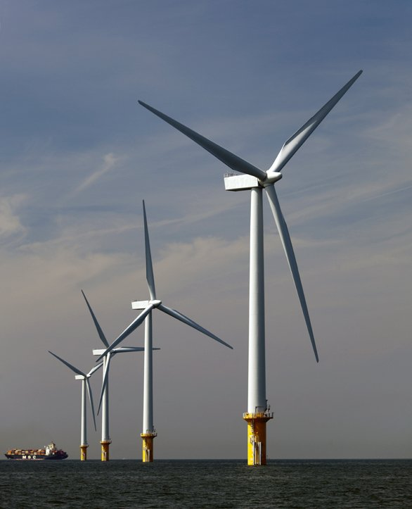 offshore wind turbines in the water in New England.