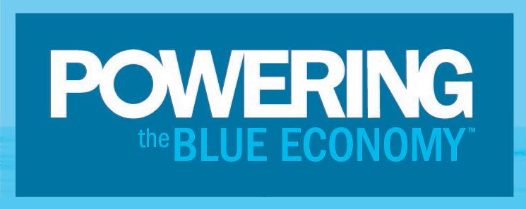 """Logo saying """"Powering the Blue Economy"""""""