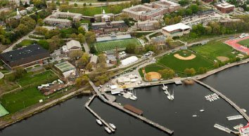 Aerial view of the Coast Guard Academy.