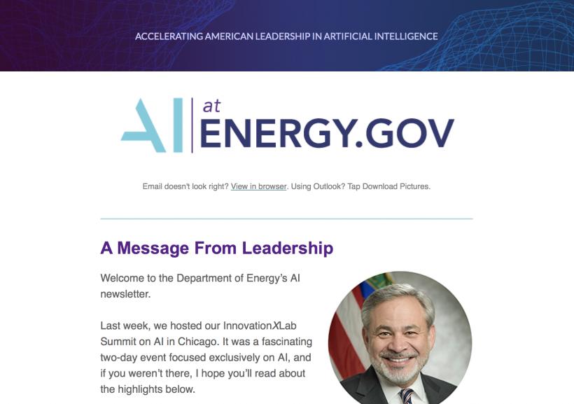 Screenshot of the DOE AI newsletter