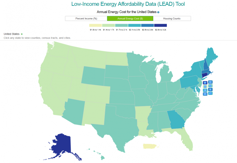 LEAD Tool Map Illustrates Energy Burden and Other Energy Characteristics