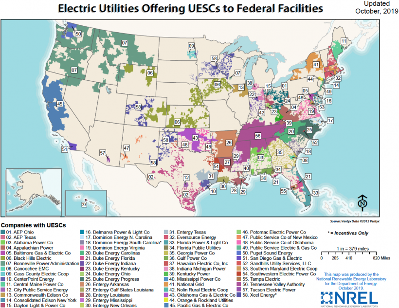 A map of the United States shows the locations of electric utilities offering utility energy service contracts to federal facilities. The map shows 66 different colors in states throughout the United states, including Hawaii.