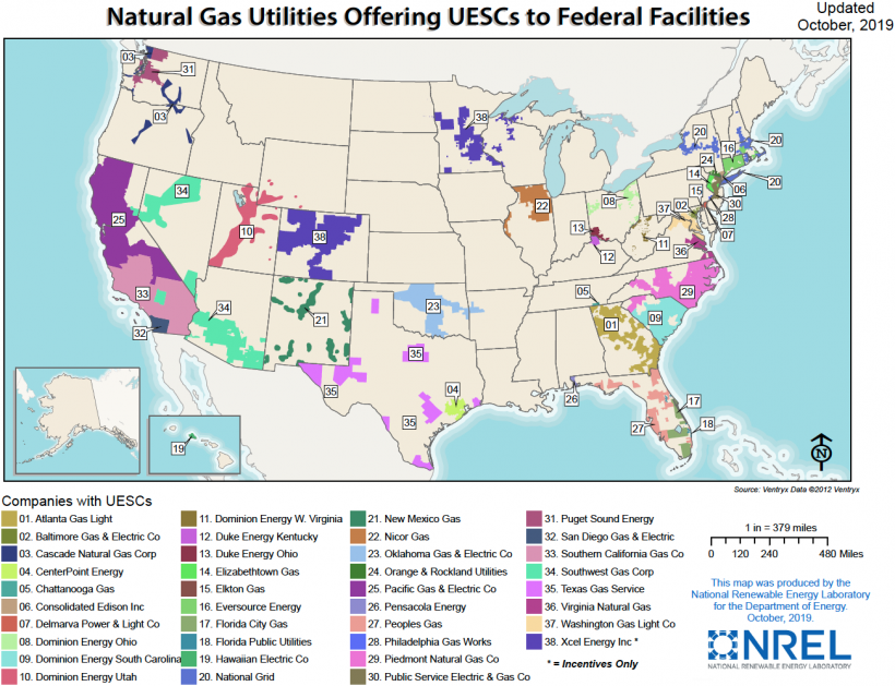 Map of the U.S. showing natural gas utilities offering UESCs to federal facilities.