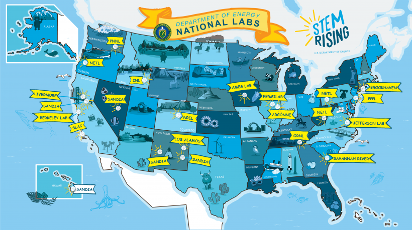 STEM Rising National Laboratories Map