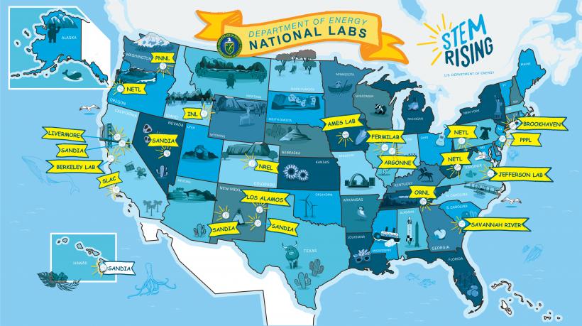 STEM Rising National Laboratories Map