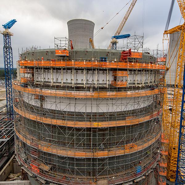 Construction photo of Vogtle reactors in Georgia