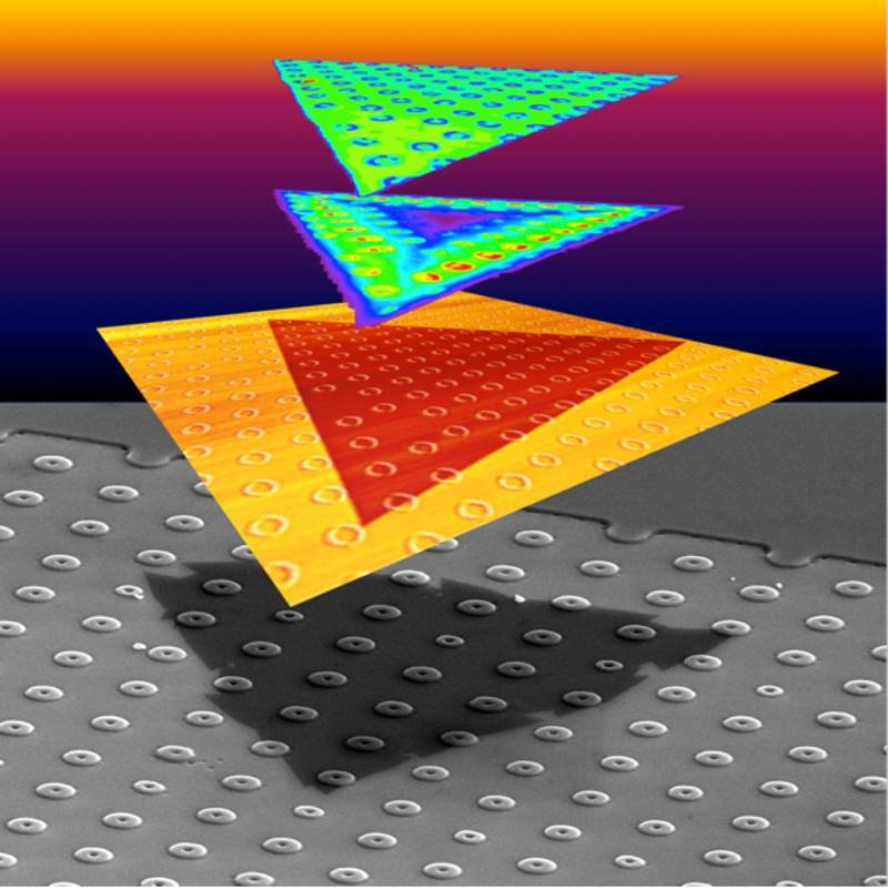 Localizing the strain in an atomically-thin crystalline film regulated light emission. This approach patterned donut shapes in an array on a silicon dioxide support. A triangular crystal of tungsten disulfide grew over the donut shaped obstacles.