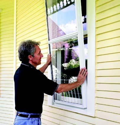 Man setting a window frame.