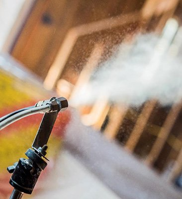 Photo of a hose spraying on a home.