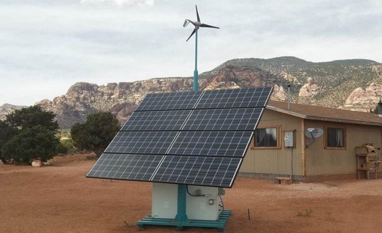 Photograph of residential solar hybrid unit.