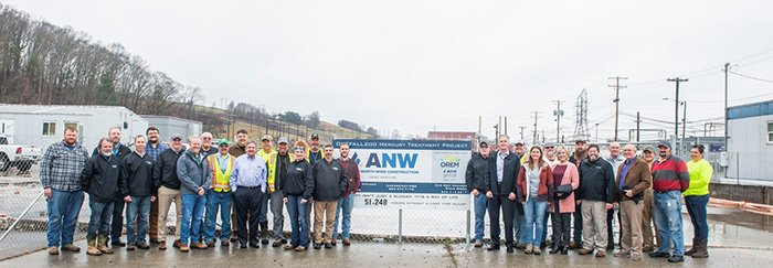 Oak Ridge workers celebrate a safety milestone on the Outfall 200 Mercury Treatment Facility project.